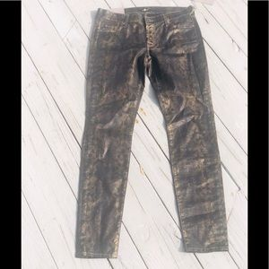 NWT🏷7 for all Mankind Gold Snakeskin Skinny 27